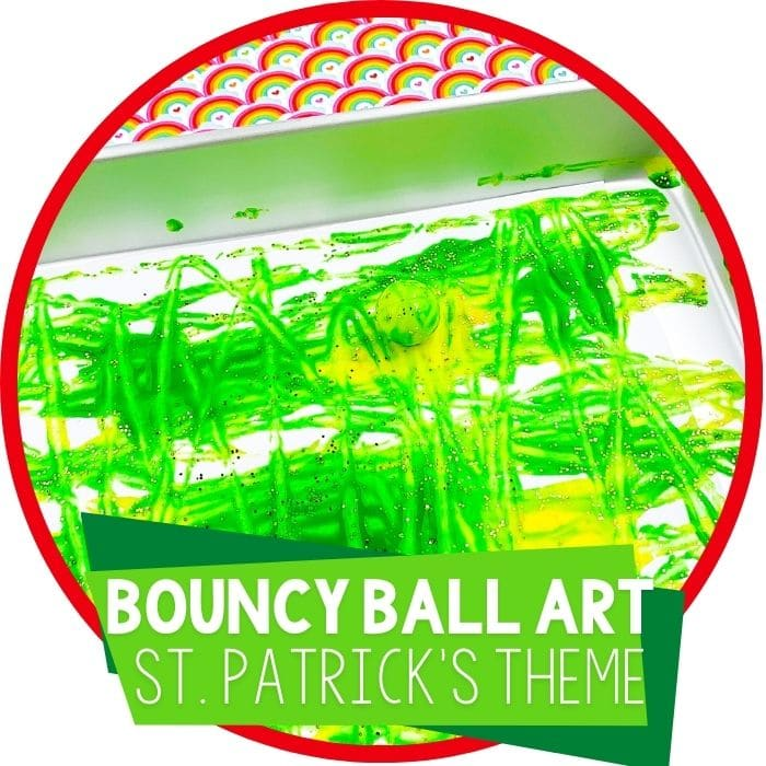 St. Patrick's Day Bouncy Ball Painting Process Art