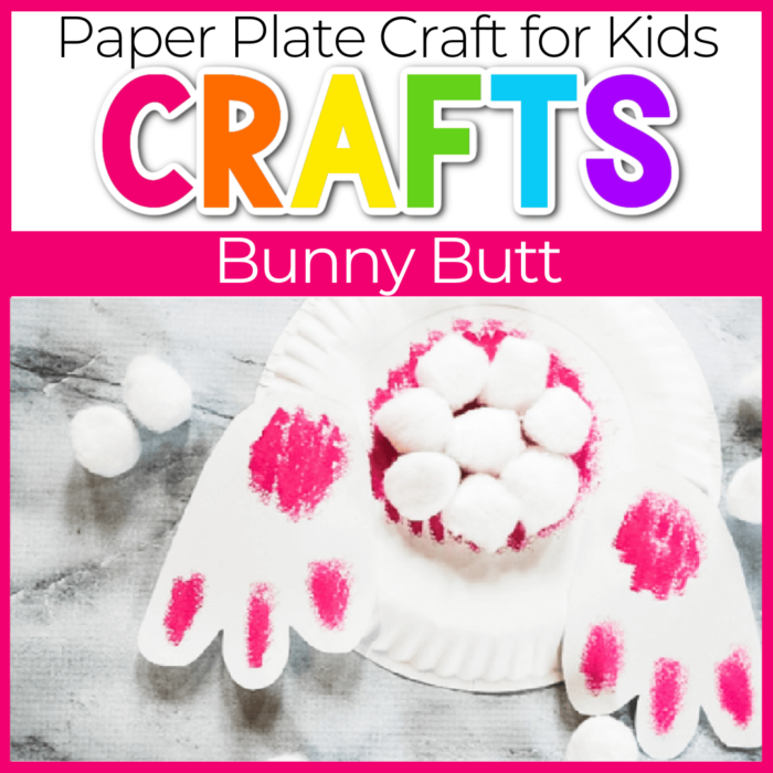 bunny tail paper plate craft with bunny feet and cotton ball bunny tail featured image
