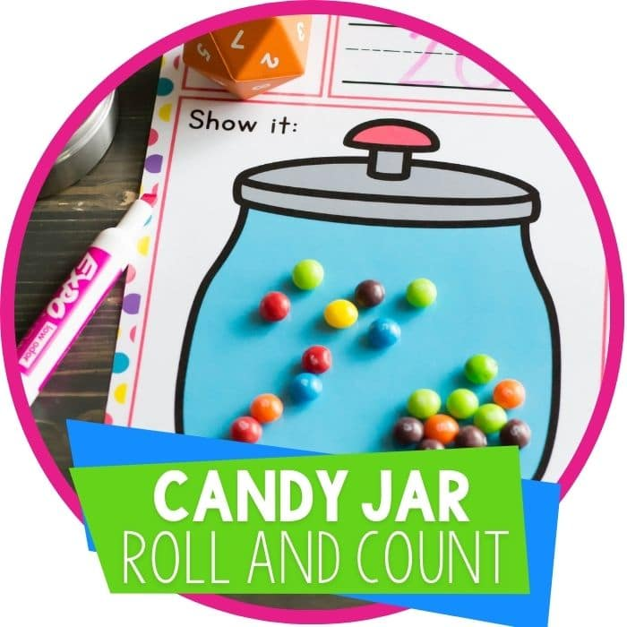 Candy Jar Roll and Count Dice Game for Preschoolers