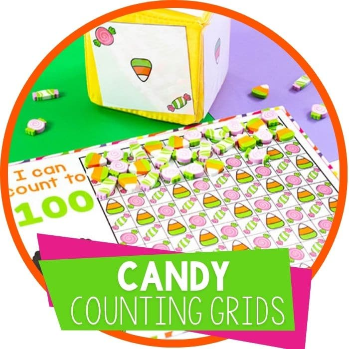 Candy Mini Eraser Counting Grids for Preschool