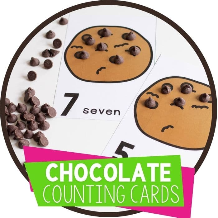 Chocolate chip counting cards for preschool and kindergarten math centers snacktivity Featured Image