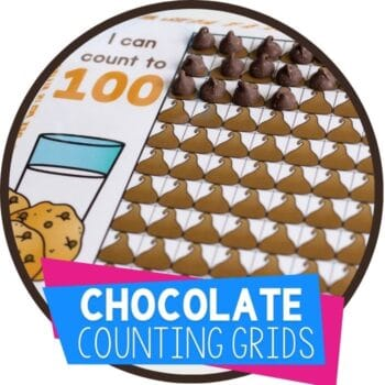 Chocolate chip counting grids snacktivity for math centers numbers 10, 20 and 100 charts Featured Image