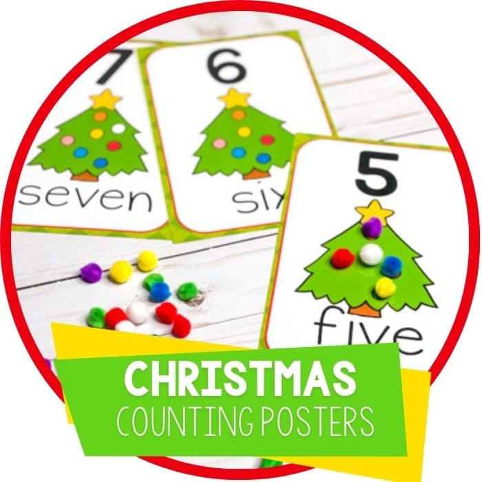 Preschool Christmas Theme Counting Cards and Posters