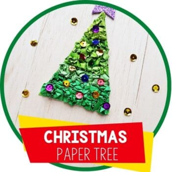 crumpled paper Christmas tree craft for preschoolers with sequins featured image