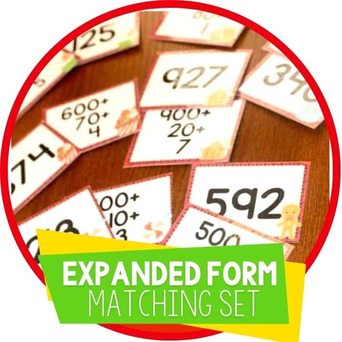christmas expanded form matching game featured image