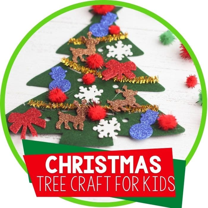Christmas theme felt Christmas tree craft for kids Featured Image