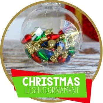 Christmas clear ornament filled with miniature Christmas light ornaments Featured Image