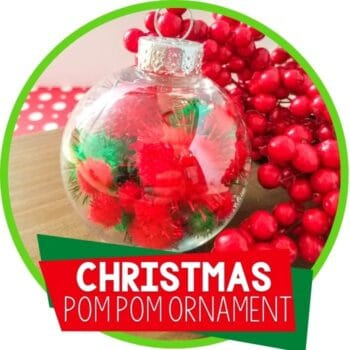 Christmas clear ornament filled with red and green pom poms Featured Image