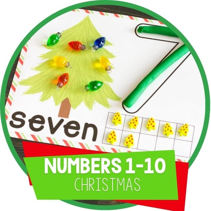 Play Dough Christmas Tree Counting Mats for Numbers 1-10