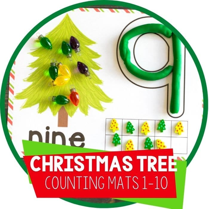 christmas tree play dough number counting mats featured image