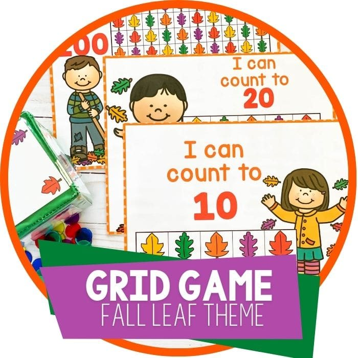Fall Leaves Mini Eraser Counting Games for Preschoolers
