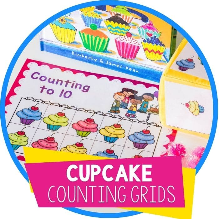Free Printable Cupcake Counting Grids for Preschool