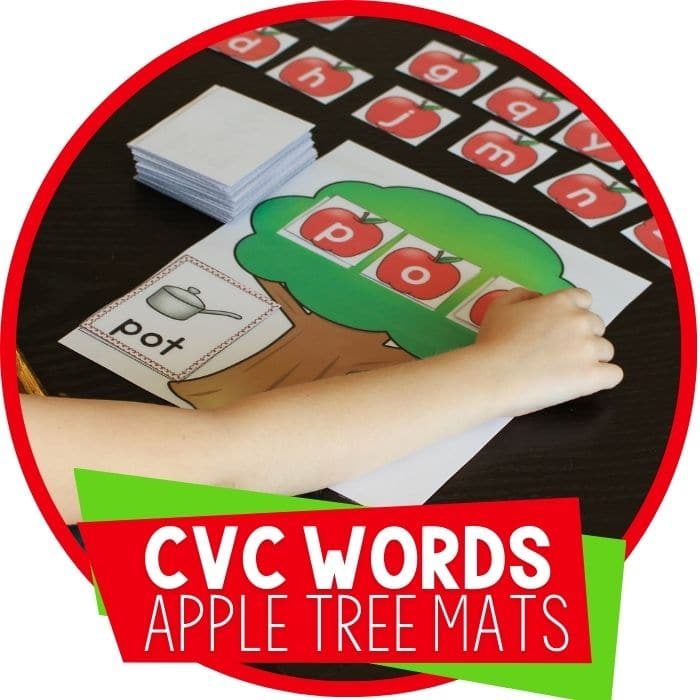 CVC word family word building mats apple tree cvc word 'pot'