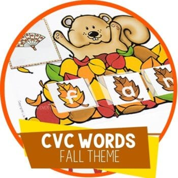 cvc wordss fall theme cvc word building mat with squirrel and leaves