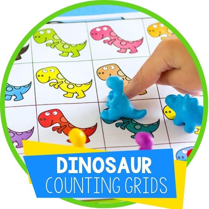 Free Printable Dinosaur Counting Grid Game for Preschool