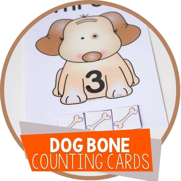 Dog Counting Cards for Numbers 1-5