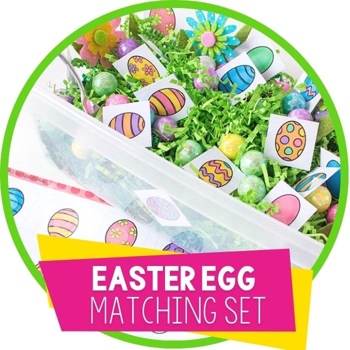 easter egg matching set sensory bin featured image