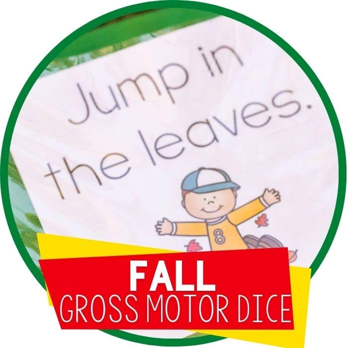 fall gross motor brain break dice featured image