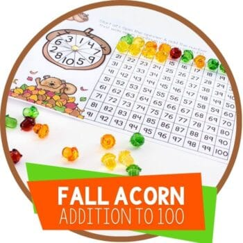 fall squirrel and acorn addition to 100 chart featured image