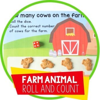 farm animal roll and count with cow crackers featured image