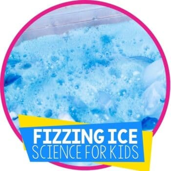 fizzing ice baking soda and vinegar science experiment for kids with ice featured image