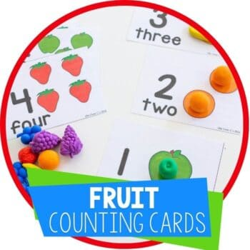 fruit theme free printable counting cards for preschool Featured Image
