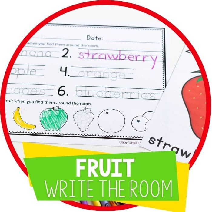 free printable fruit theme write the room activity for literacy kindergarten and preschool activity Featured Image