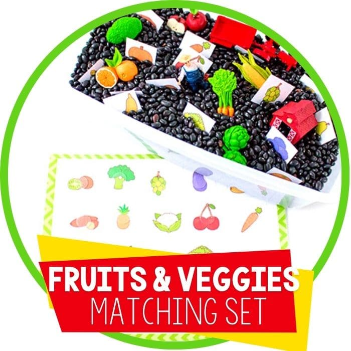fruits and veggies matching set sensory bin featured image