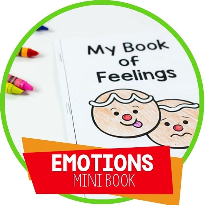 gingerbread themed emotions mini book for preschool and kindergarten featured image