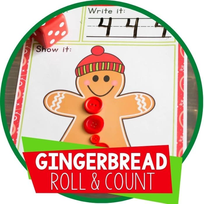 Free Printable Gingerbread Roll and Count Math Game