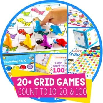 Number counting grid games for preschool circle featured image