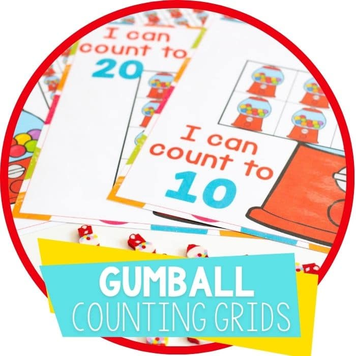 Printable Gumball Mini Eraser Preschool Counting Grids