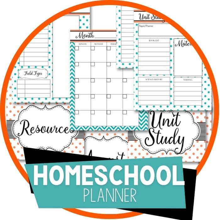 Homeschool Planner Coral and Teal