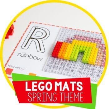Free printable LEGO mats for Spring theme fine motor activity for kindergarten Featured Image