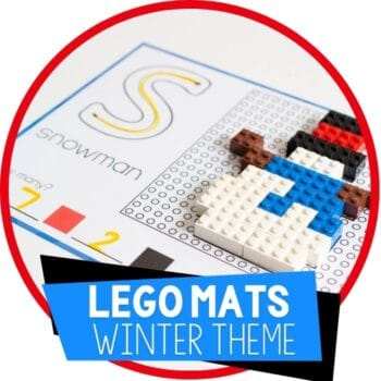 Free printable LEGO mats fine motor activity for winter theme Featured Image