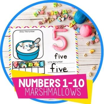 Marshmallow Counting Numbers 1-10 free printable counting mats.