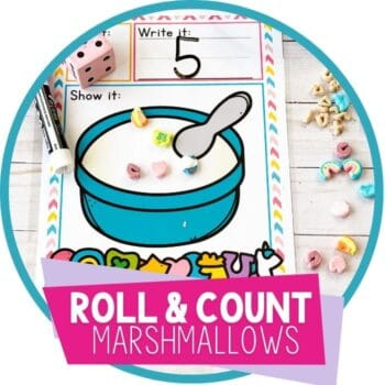 Marshmallow Cereal Roll and Count Math Game for Preschoolers featured image