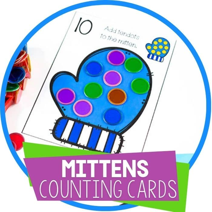Mitten Counting Cards for Preschoolers