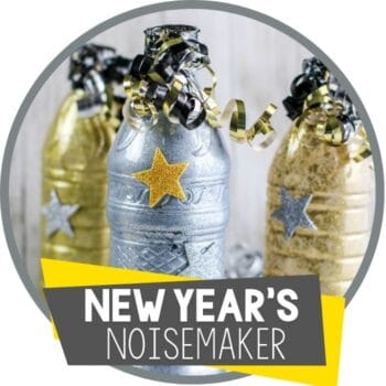 new years's even noisemaker made from reused plastic bottle and curled ribbon Featured Image