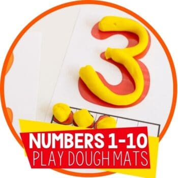 numbers 1-10 ten frame play dough mats with the number three formed with play dough Featured Image
