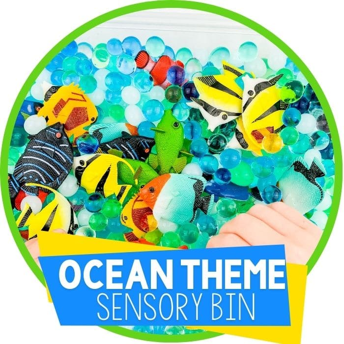 ocean sensory bin with water beads featured image