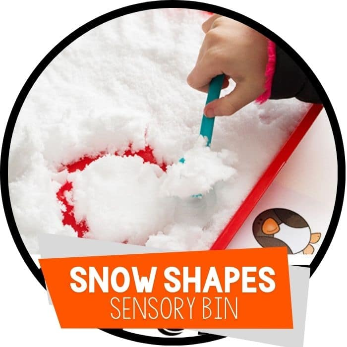 penguin snow shapes sensory bin featured image