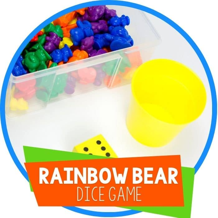 rainbow bear fill the cup dice game featured image