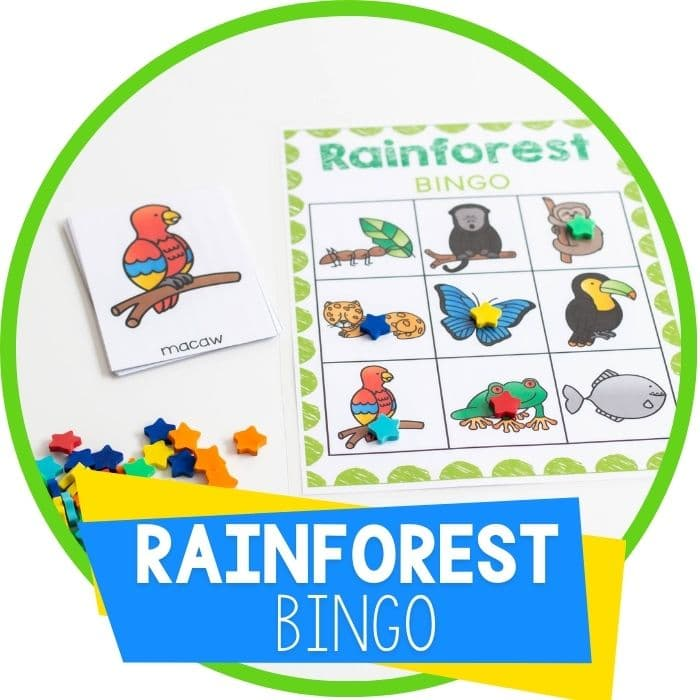 Free printable rainforest animal BINGO set with star mini erasers as BINGO markers Featured Image