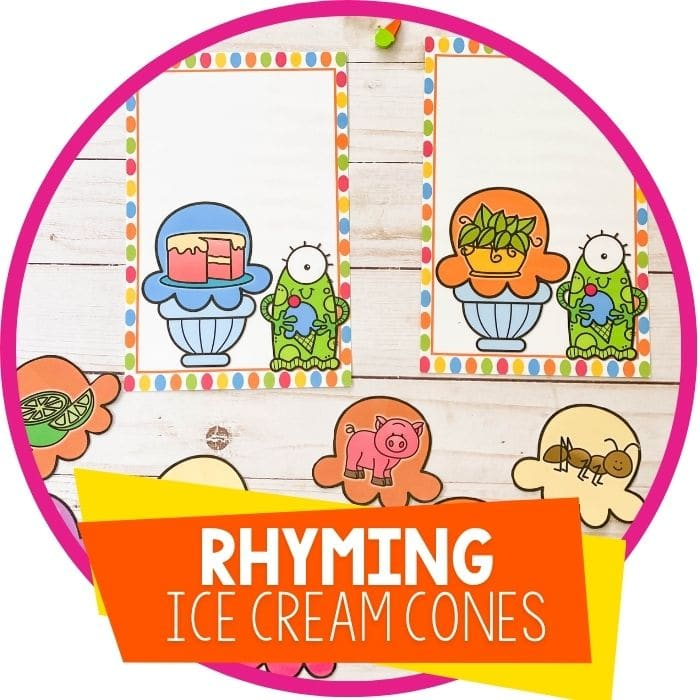 Ice Cream Rhyming Words Printable for Kindergarten