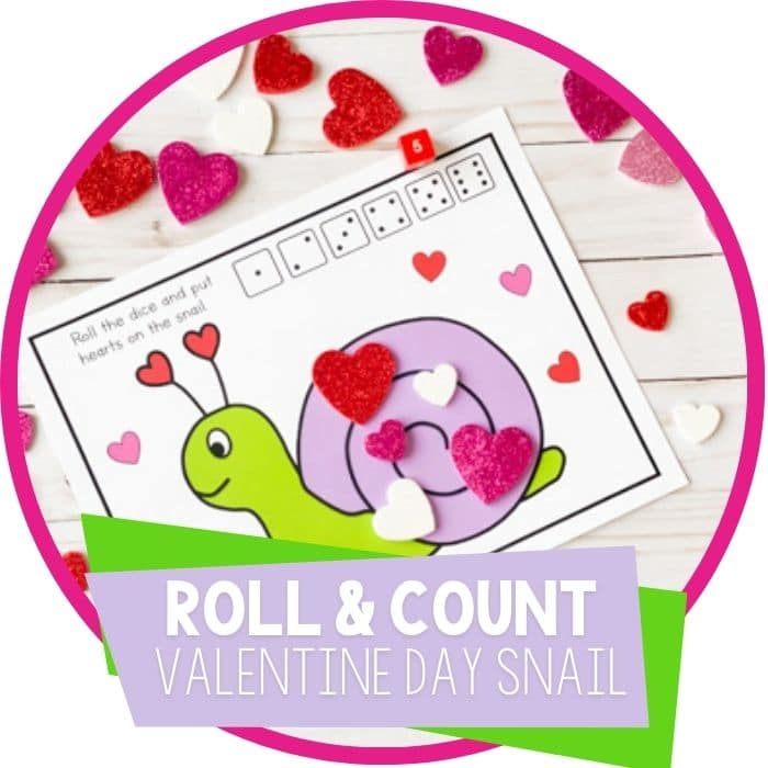 Valentine's Day Roll and Count Game Featured Image