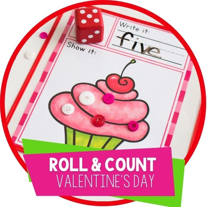 We love Valentine's Day! This simple free printable Valentine's Day roll and count math game for kindergarteners is perfect for February! Kids love rolling the dice, writing the numbers and counting the chocolates and cupcake sprinkles.