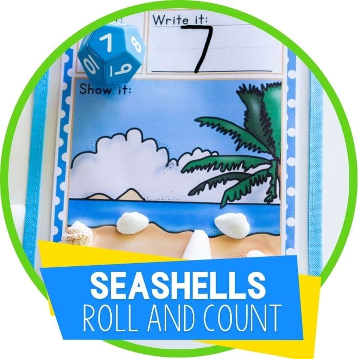 Free Printable Sea Shells Roll and Count Activity