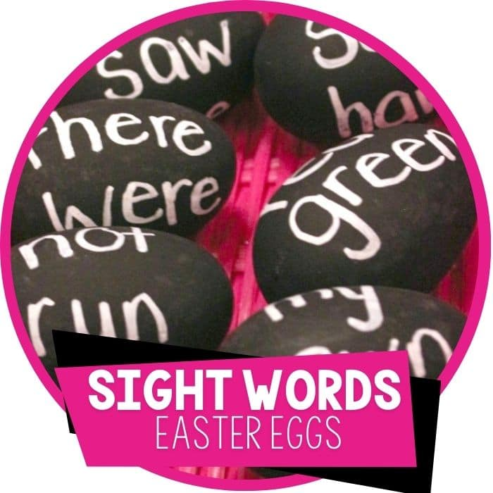 sight word Easter eggs reading activity Easter Eggs with sight words written on them for kindergarteners to read