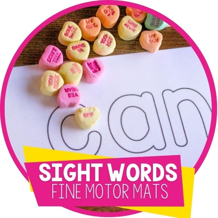 sight word fine motor mats for word building
